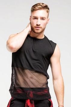 1/2 Mesh SleevelessTop | Men | White- Brian Says B Free Pride Outfit, Gay Outfit, Mens Rave Outfits, Clubbing Outfits, Crop Top Outfits, Cool Outfits, Gay Costume, Mens Crop Top, Half Shirts
