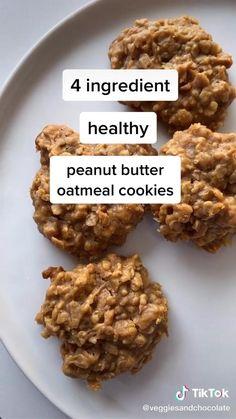 Healthy Cookies, Healthy Sweets, Healthy Breakfast Recipes, Healthy Baking, Healthy Snacks, Healthy Peanut Butter, Fun Baking Recipes, Snack Recipes, Cooking Recipes