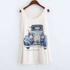 New 2017 Summer Style Hot Sales Vintage Truck Print Loose Tank Top Sleeveless O-Neck Casual Tops Women Vest Fashion Clothing #Affiliate