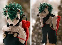 Unique handmade hedgehog handpuppet from recycled materials