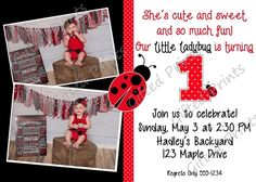 Birthday Invitation • Lady Bug Theme • Free economy shipping • Fast turnaround time • Great customer service • These birthday invitations are custom, high resolution digital files that are personalized for each customer upon order