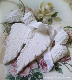 clay angel wings. villabarnes....must try to make my own one day in clay....big ones to hang on the wall.