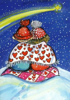 Postcrossing postcard from Finland Art Fantaisiste, Illustration Noel, Twinkle Twinkle Little Star, Couples In Love, Whimsical Art, Be My Valentine, Christmas Art, Stargazing, Belle Photo