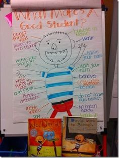 "Good beginning of the year activity for students. Use books ""No David!"" and ""David at School"" to discuss what is a good student?"