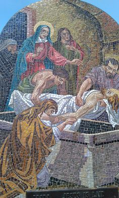 14 Stations of the Cross along the stairs @ Mother Cabrini Shrine Colorado. . Each station is made of stone mosaics made in Italy and depicts the suffering of our divine Lord as He gave His life for our salvation