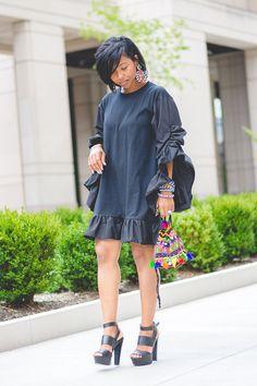 Sweenee Style, Indianapolis Fashion Blog, Black dress, Reclaimed Vintage, Steve madden Sandals,  Black Summer Dress Idea, Ruffle Dress