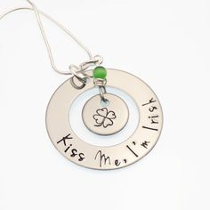 Kiss Me I'm Irish Hand Stamped Necklace | Lucky Shamrock Jewelry | Irish Gift - Shamrock Necklace | St. Patty's Day Gift | St. Patrick's Day by CathysCreationsJwlry