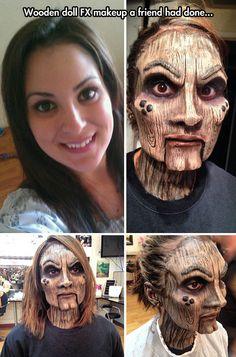 Wooden doll makeup…
