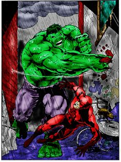 #Hulk #Fan #Art. (Hulk vs DareDevil Colours) By:Littlegett. (THE * 3 * STÅR * ÅWARD OF: AW YEAH, IT'S MAJOR ÅWESOMENESS!!!™)[THANK Ü 4 PINNING!!!<·><]<©>ÅÅÅ+(OB4E)   https://s-media-cache-ak0.pinimg.com/564x/5d/c6/f6/5dc6f6f52045a20702956e97d9f60e41.jpg