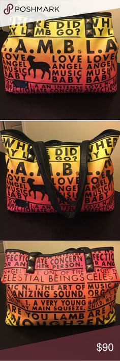 L.A.M.B. Williamsfield tote in Dayglo Sunrise 🌅 RARE TOTE! This adorable large tote is in good used condition! It's neon colors with black leather trim makes it stand out!! I've gotten SO many compliments on this bag! There are studs on the straps! I also wanted to point out wear&tear in the photos above. you can also see where straps have wear over the years but the bag is sturdy and can hold so much! It can be worn 2 diff. ways as shown in the pics above! There are 2 snaps on each side…