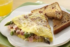 Asparagus and Swiss #cheese are the perfect pairing for a quick #Spring #Omelet.
