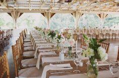 Weddings » Rustic Wedding Tables with hessian, white linens & mason jar florals – Bridal Musings Wedding Blog Photo credit: Lauren Fair Photography