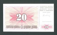 BOSNIA, 20 Dinara 15-8-1994 UNC P42a It is highly sought by collectors RARE  http://www.ebay.com/itm/-/161149166429