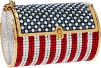 Judith Leiber Red, White and Blue Crystal Minaudière