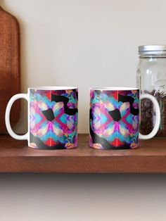 Vibrant neon pink,multicolor, psychedelic abstract art design Mug
