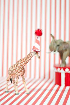 Circus themed birthday - party animals. Find at dollar store and spray paint