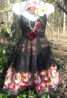 Black roses dress lace silk  goth tiered  boho  rose romantic medium  by vintage opulence on Etsy