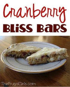 Cranberry Bliss Bars Recipe! ~ at TheFrugalGirls.com ~ these decadent treats are absolutely delicious... perfect for your Thanksgiving and Christmas dessert menus! #recipes #thefrugalgirls