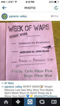 Week of wars spirit week ideas