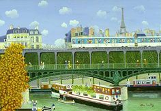 "Cellia Saubry,  ""The Canal Of St. Martin"", French Naive Artist"