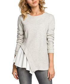 5b1548f5ef49 Look what I found on  zulily! Light Gray Side-Ruffle Long-Sleeve