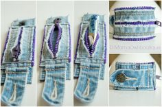 Artículos similares a Upcycled Recycled Denim and Purple Zipper Cuff Bracelet en Etsy