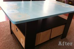 Stenciled, chalkboard top coffee table by Mine for the Making