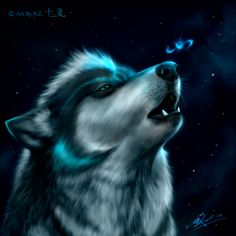 N.Z.'s wolf head protrait by NZwolf