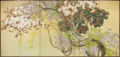 Komuro Suiun (1874-1945) Namga School, Late Meiji/early Taisho period. Spring, Spring flowers and trees including Fuji (wisteria), tsubaki (camellia) sakura (cherry blossem and rengyo (golden bells)
