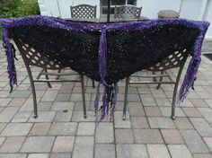 Crow Jane handknit silk shreds shawl with wool beads bells