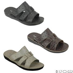 New Mens Leather Sandals Open Toe Beach Slippers Summer Slider Black White Brown Men Sandals, Leather Sandals, Summer Men, Mens Slippers, Sliders, Leather Men, Open Toe, Walking, Footwear