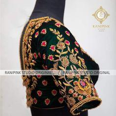 Half Saree Designs, Silk Saree Blouse Designs, Bridal Blouse Designs, Blouse Patterns, Embroidery Fashion, Embroidery Dress, Zardozi Embroidery, Hand Embroidery, Embroidered Blouse