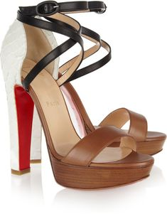 Christian Louboutin Brown Summerissima White Python & Leather Sandals €795 #CL #Louboutins #Shoes