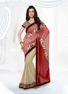 Shop online from the largest collection of indian saree. Buy this net embroidered and patch border work designer saree for festival and party.