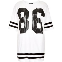 TOPSHOP Number 86 Tee (52 CAD) ❤ liked on Polyvore featuring tops, t-shirts, shirts, topshop, dresses, white, topshop shirt, t shirts, oversized shirt and oversized white shirt