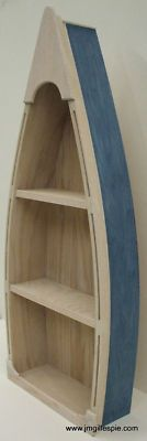 4 Foot Blue Row Boat Bookshelf Bookcase Shelves Decoy Duck Shelf Display Case