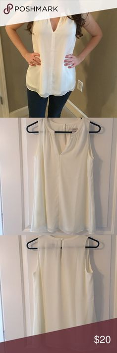 LOFT Small Ivory Blouse LOFT Small Ivory Blouse. Small V neck accent. Sheer material with underlining. Perfect condition. LOFT Tops Blouses