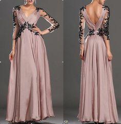 Long sleeve lace wedding dress V-neck chiffon formal evening dress prom dress