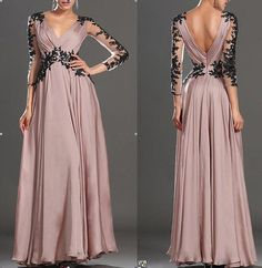 Long sleeve lace wedding dress V-neck chiffon formal evening dress prom dress