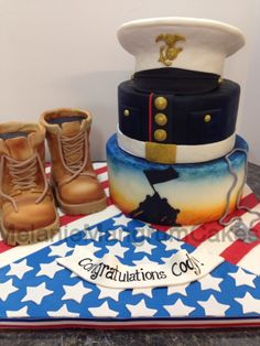 Marine Graduation Cake Cake was made for a high school graduate who is entering the Marines. Fancy Cakes, Cute Cakes, Marine Corps Cake, Retirement Party Cakes, Military Cake, Pastry And Bakery, Cakes For Men, Specialty Cakes, Novelty Cakes