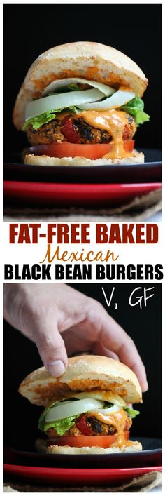 Fat-Free Baked Mexican Black Bean Burgers. These aren't squishy and are firm and chewy thanks to cornmeal and potatoes! Vegan, gluten-free, healthy and loaded with flavor. | http://TheVegan8.com | #vegan #mexican #blackbean #burger #veggie #glutenfree #oilfree #dairyfree