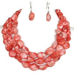 Graduated Coral Pink Mother of Pearl Nugget Necklace with Matching Earrings - Coral Pink Bridesmaid Jewelry - Coral Pink Bridal on Etsy, $49.00