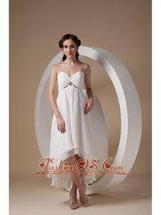 Beautiful Empire Spaghetti Straps Short Wedding Dress High-low Chiffon Ruch- $150.23  http://www.fashionos.com  http://www.fashionos.com