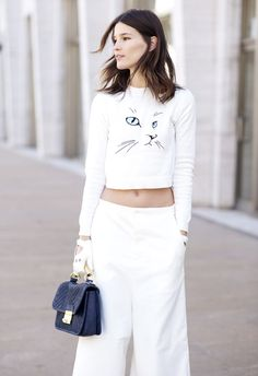 quirky print cropped sweater with wide leg pants