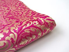 Pink gold large design flowers delicate design kinkhab heavy Indian silk brocade fabric nr 777 for fat quarter - 1/4 yard by SilksByUmf on Etsy