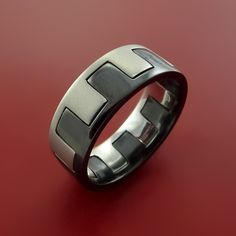 Black Zirconium and Titanium Ring Zipper Style Band Made to Any Sizing and Finish by Stonebrook Jewelry