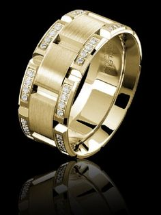 Carlex diamond luxury yellow gold ring with beveled supreme comfort fit. Available at TWO by LONDON!