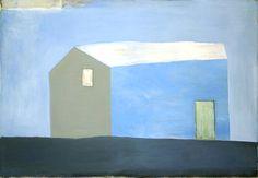 Hus i vind, 1992, 130x188cm, akryl - tilhører Chr Bjellands samling, deponert på Bomuldsfabriken Kunsthall, Arendal