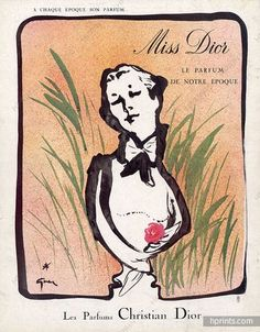"Christian Dior Perfume, 1954,""Miss Dior"" Illustrated by Rene Gruau."