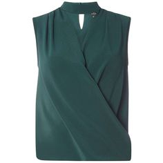 Dorothy Perkins Green Sleeveless Choker Top ($44) ❤ liked on Polyvore featuring tops, green, wrap tops, no sleeve tops, blue wrap top, green top and sleeveless tops